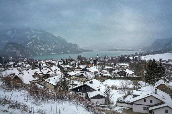 Wintry Photograph - St Gilgen Village Wolfgangsee Austria In Winter  by Carol Japp