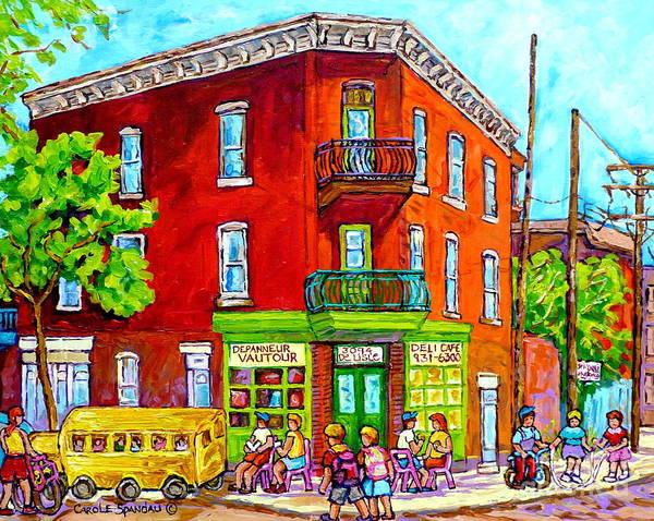 Painting - St Henri Montreal Colorful Summer Street Scene Depanneur Vautour Canadian Painting Carole Spandau  by Carole Spandau