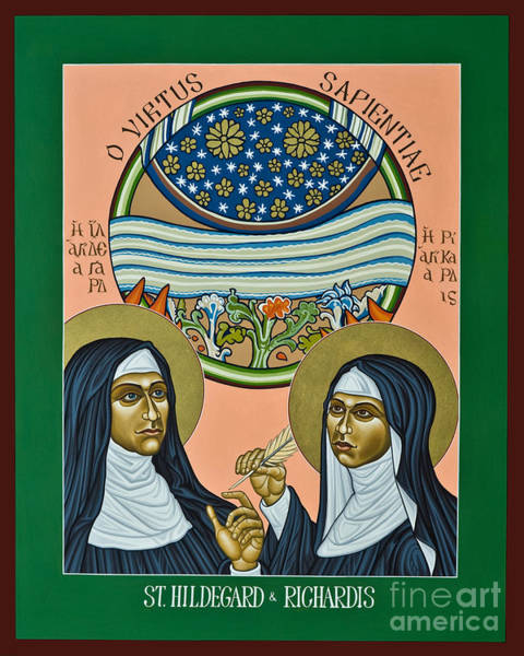 Painting - St. Hildegard Of Bingen And Her Assistant Richardis - Lwhar by Lewis Williams OFS