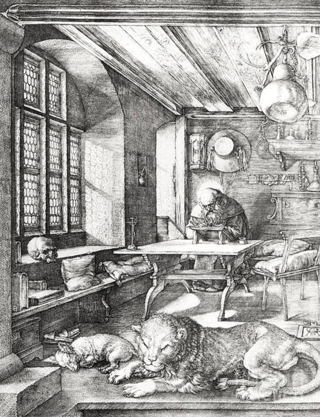 Male Figure Drawing - St Jerome In His Study by Albrecht Durer or Duerer