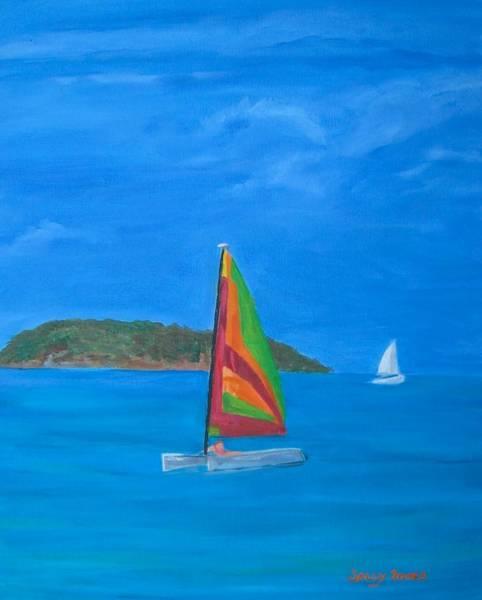 Us Virgin Islands Painting - St. John Colorful Sailboat by Sally Jones