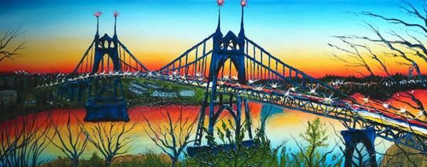 Wall Art - Painting - St. Johns Bridge At Sunset 1 by Dunbar's Modern Art
