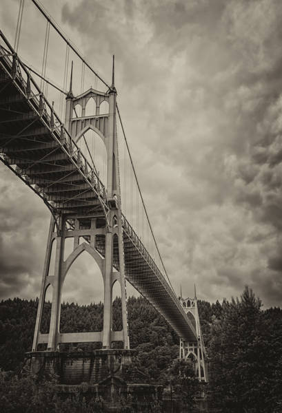 Photograph - St. Johns Bridge In Black And White by Loree Johnson