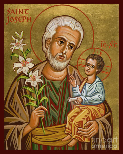 Painting - St. Joseph And Child Jesus - Jcjcj by Joan Cole