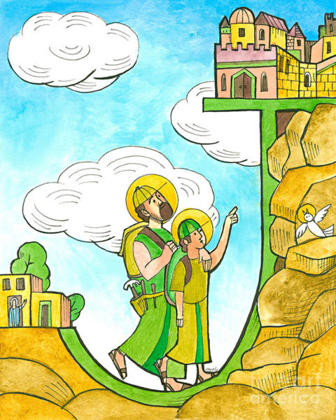 Painting - St. Joseph And Jesus In Jerusalem - Mmjjj by Br Mickey McGrath OSFS
