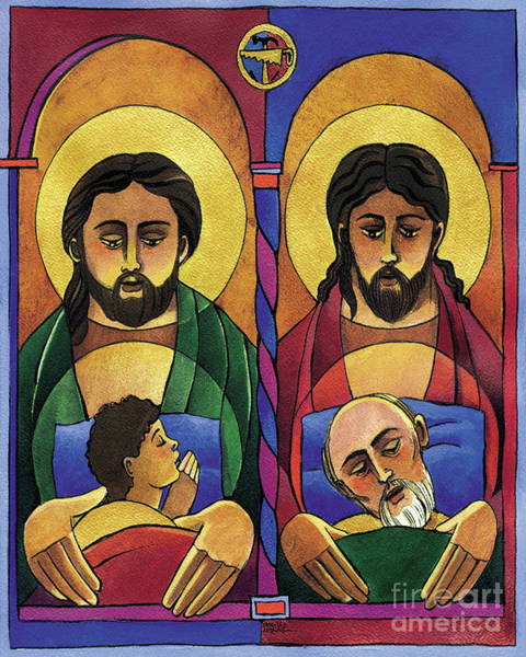 Painting - St. Joseph And Jesus - Mmjoj by Br Mickey McGrath OSFS