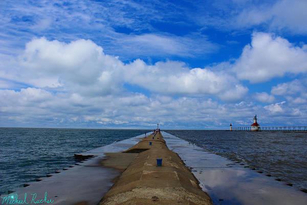 Lighthouse Wall Art - Photograph - St. Joseph Lighthouse Pier by Michael Rucker