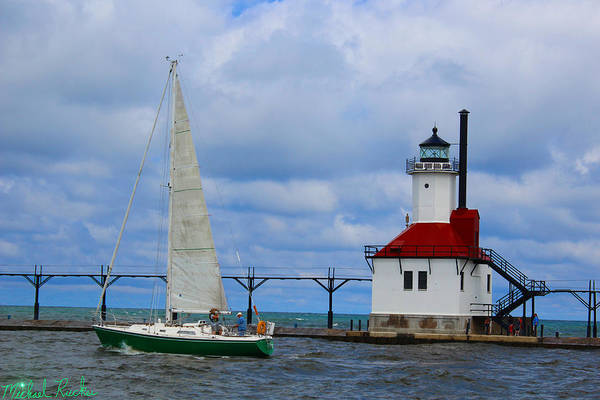 Ocean Wall Art - Photograph - St. Joseph Lighthouse Sailboat by Michael Rucker