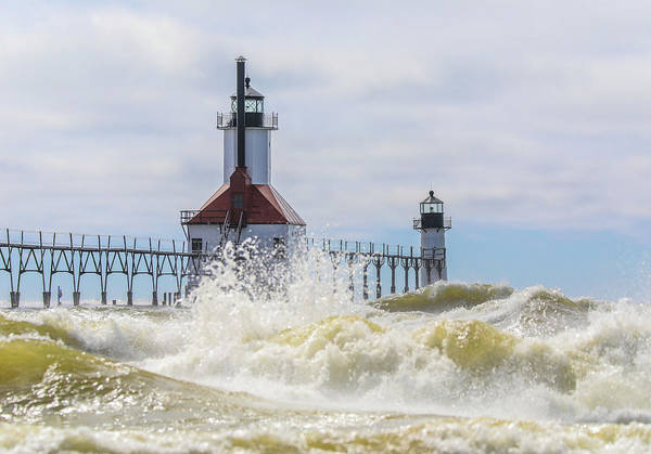 Photograph - St Joseph Lighthouse Storm Waves by Dan Sproul