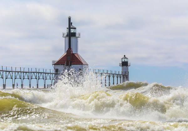 Wall Art - Photograph - St Joseph Lighthouse Storm Waves by Dan Sproul