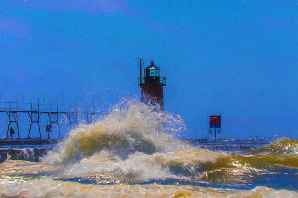 Painting - St Joseph Michigan Lighthouse Waves by Dan Sproul