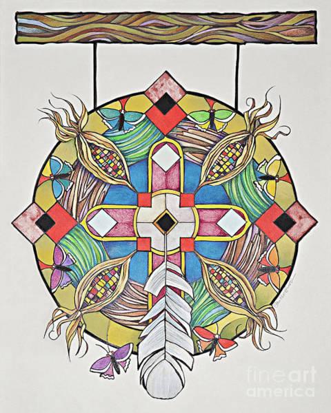 Painting - St. Kateri Tekakwitha's Mandala - Mmktm by Br Mickey McGrath OSFS