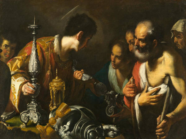 17th Century Wall Art - Painting - St. Lawrence Distributing The Treasures Of The Church by Bernardo Strozzi