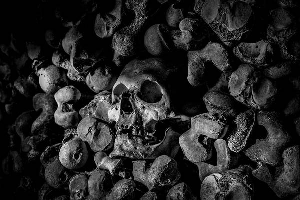 Charnel Photograph - St Leonards Ossuary 3. A Darkly Gothic Fine Art Photographic Print by Lee Thornberry
