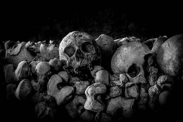 Charnel Photograph - St Leonards Ossuary 5. A Darkly Gothic Fine Art Photographic Print. by Lee Thornberry