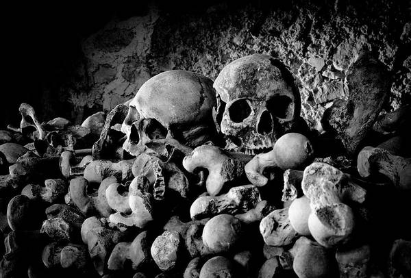 Charnel Photograph - St Leonards Ossuary 6. A Darkly Gothic Fine Art Photographic Print by Lee Thornberry