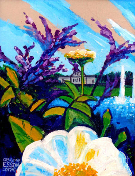 Wall Art - Painting - St. Louis Art Museum At Grand Basin With Flowers And Water Fountains 2 by Genevieve Esson