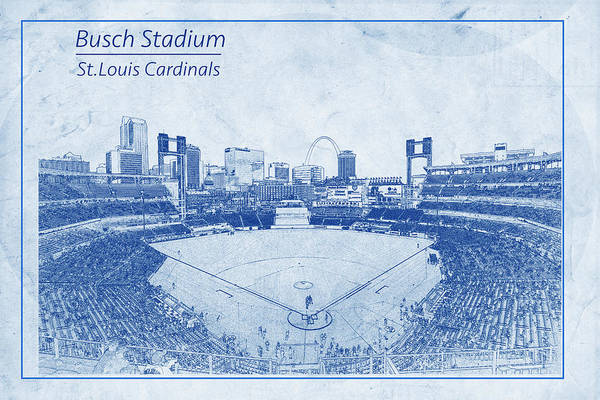 Photograph - St. Louis Cardinals Busch Stadium Blueprint Words by David Haskett II