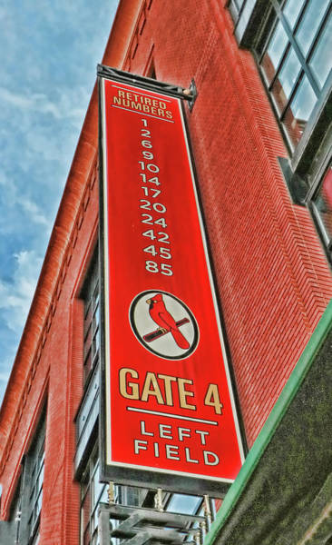 Wall Art - Photograph - St. Louis Cardinals Retired Numbers Banner by Allen Beatty