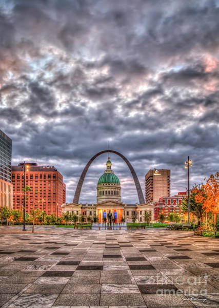 Photograph - St Louis Gateway Arch 2 Old St Louis County Court House Kiener Plaza Market Stre by Reid Callaway