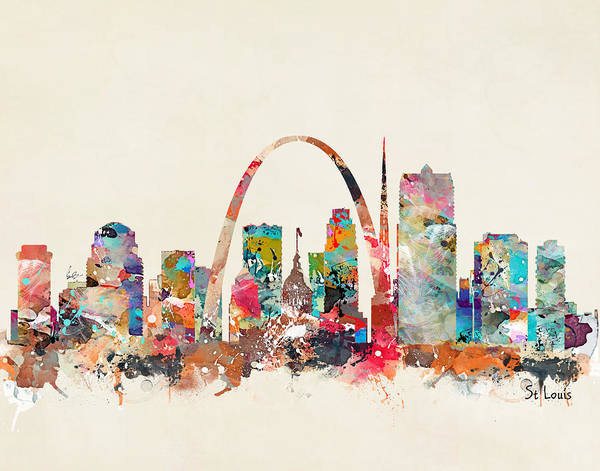 Watercolour Landscape Painting - St Louis Missouri Skyline by Bri Buckley