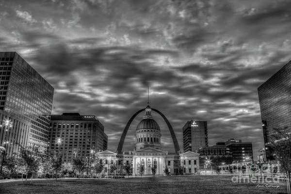 Photograph - St Louis Reflective Sunrise B W Old St Louis County Court House Art by Reid Callaway