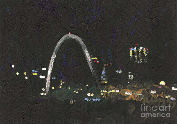 Gateway Arch Painting - St. Louis Riverfront 1 by Helena M Langley