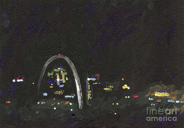 Gateway Arch Painting - St. Louis Riverfront 2 by Helena M Langley