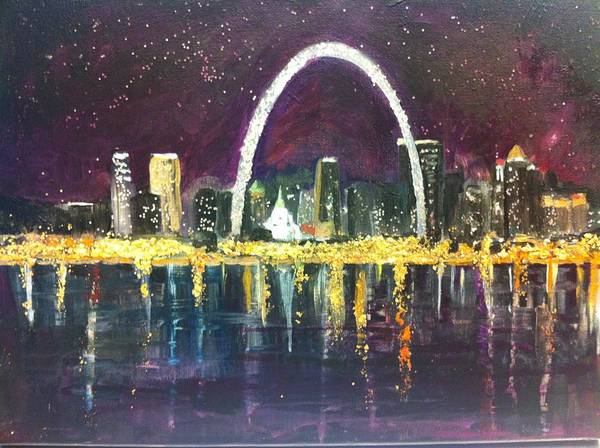 St Louis Arch Painting - St. Louis Skyline by Made by Marley