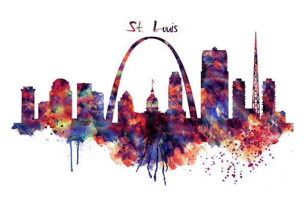 St Louis Arch Painting - St Louis Skyline by Marian Voicu
