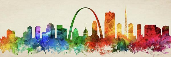 Wall Art - Digital Art - St. Louis Skyline Panorama Usmosl-pa03 by Aged Pixel