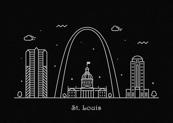 Monument Drawing - St. Louis Skyline Travel Poster by Inspirowl Design