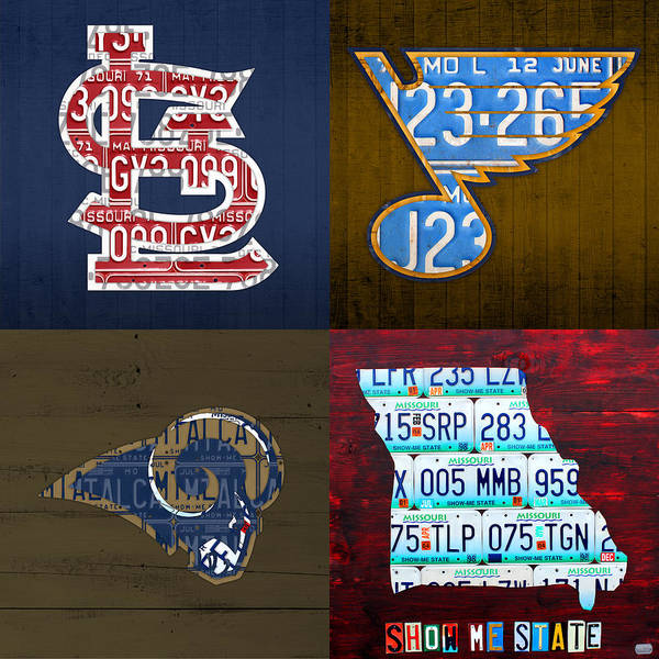 Cardinal Mixed Media - St Louis Sports Fan Recycled Vintage Missouri License Plate Art Cardinals Blues Rams by Design Turnpike
