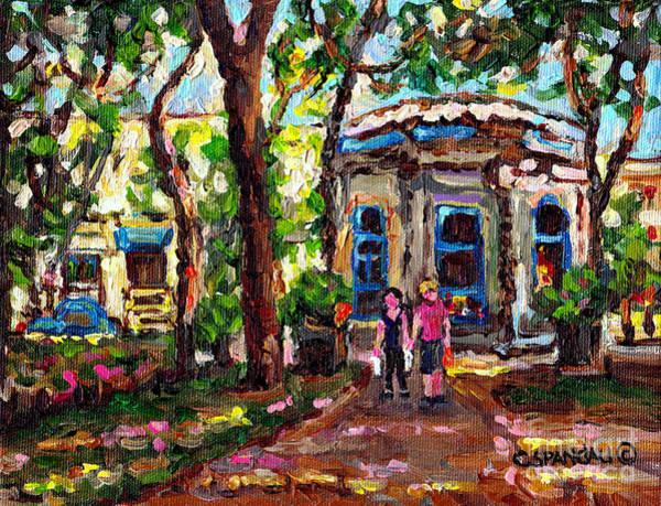 Painting - St Louis Square Park Kiosk Sandwich Shop Romantic Stroll C Spandau Plateau Mont Royal                by Carole Spandau