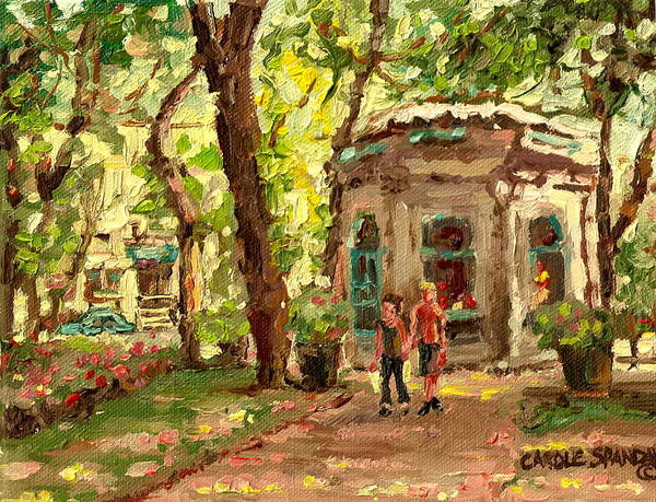 Luncheonettes Painting - St Louis Square St Denis Street by Carole Spandau