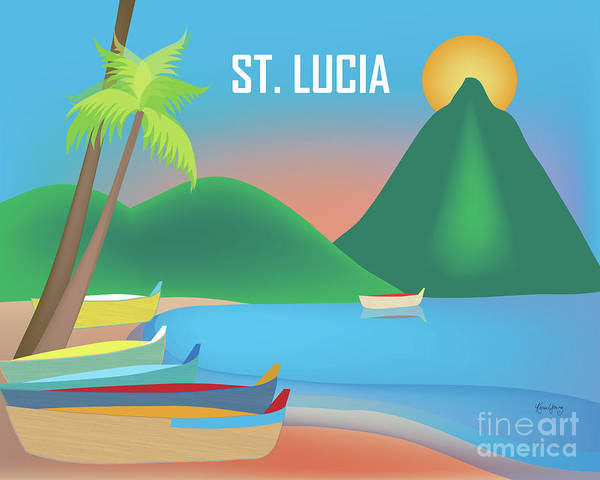 Jade Digital Art - St. Lucia Horizontal Scene by Karen Young