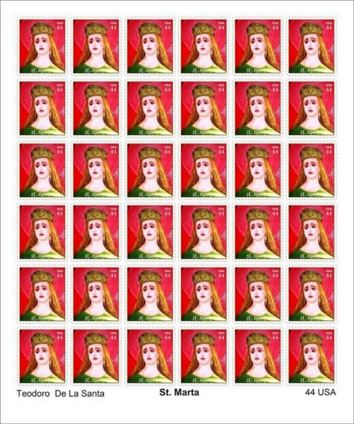 Digital Art - St Marta 36 Postage Stamps by Teodoro De La Santa