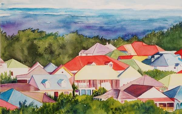 Painting - St. Martin Rooftops by Lynne Atwood
