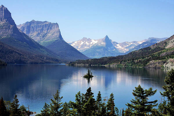Glossy Photograph - St Mary Lake - Glacier National Park Mt by Christine Till