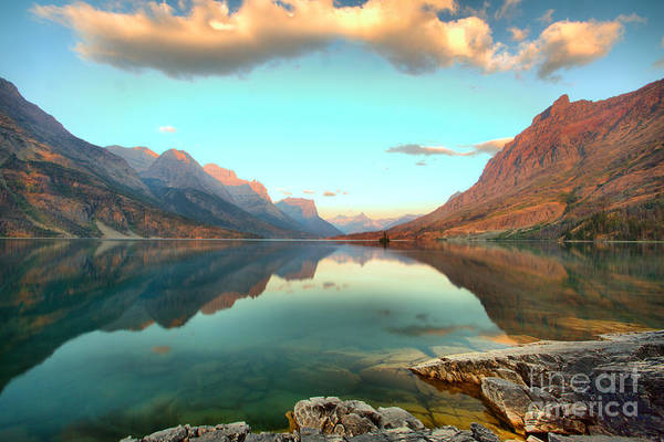 Photograph - St Mary Lake Clouds And Sunrise by Adam Jewell