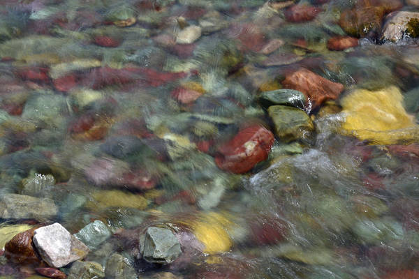 Photograph - Two Medicine River Rocks In Glacier National Park by Bruce Gourley