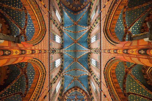 St. Mary's Basilica Cross Ribbed Vault In Krakow Art Print