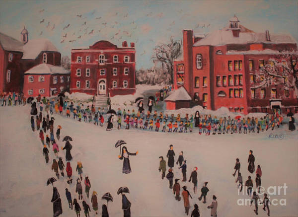 Church Yard Painting - St Mary's First Friday Mass by Rita Brown