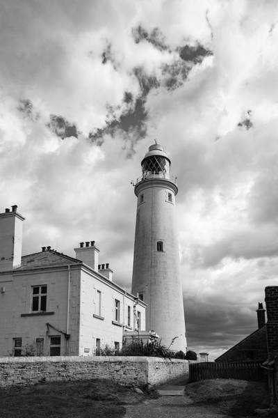 Photograph - St Mary's Lighthouse Buildings Bw Version by Gary Eason