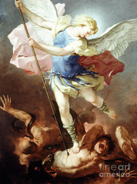 Satan Painting - St Michael Defeats Demon by Luca Giordano