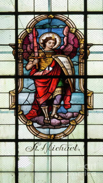 Wall Art - Photograph - St Michael - Stained Glass Window In The Church Of The Visitatio by Michal Boubin