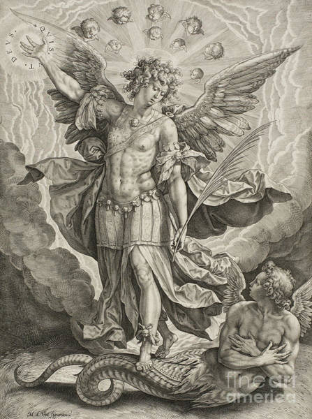 Wall Art - Drawing - St Michael Triumphing Over The Dragon by Hieronymus or Jerome Wierix