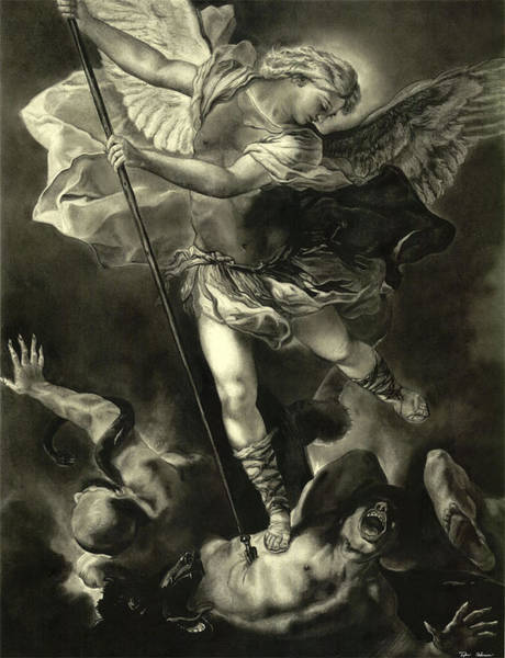 Satan Drawing - St. Michael Vanquishing The Devil by Tyler Anderson
