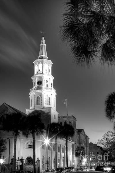 St Michaels Church Photograph - St Michaels Church Charleston Sc Black And White  by Dustin K Ryan