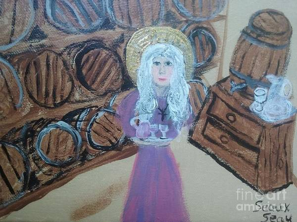Alcoholism Painting - St. Monica In The Wine Cellar by Seaux-N-Seau Soileau